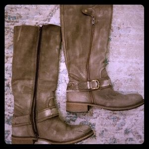 Matisse Leather Boots, distressed grayish color